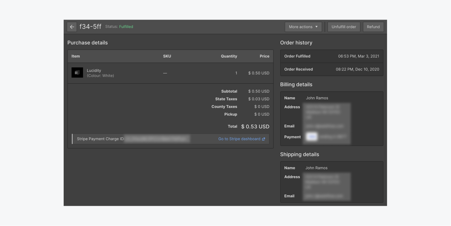 Order details for a Webflow Ecommerce order are shown in the Webflow Designer.