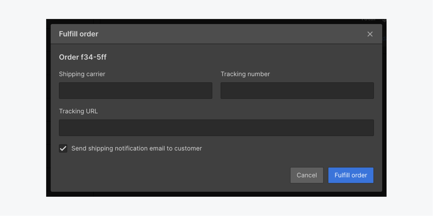 The Fulfill order modal in the Webflow Designer allows you to set the Shipping carrier, tracking number, tracking URL and whether you'll send your customer a shipping notification email.