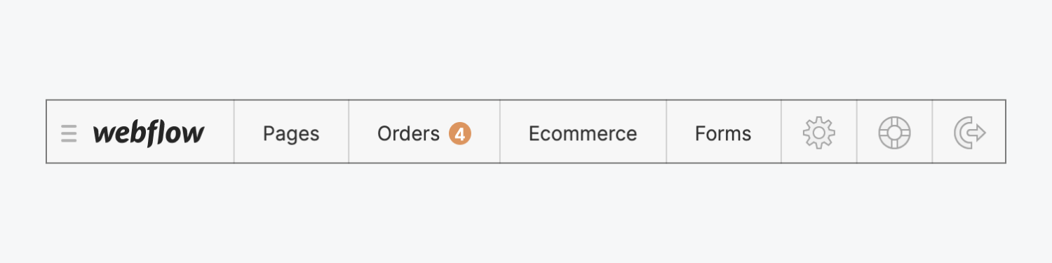 The Ecommerce orders tab in the Webflow Editor indicates 4 new orders.