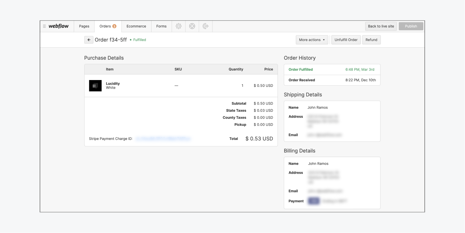 Order details for a Webflow Ecommerce order are shown in the Webflow Editor.