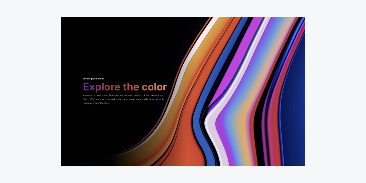 A Heading is filled with gradient color that spans from purple to red to orange by using background Clipping.