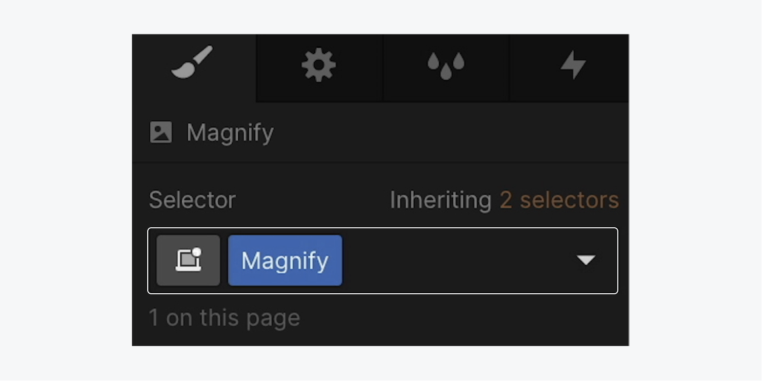 """The selector field of an image shows a new class of """"Magnify"""" added to it."""