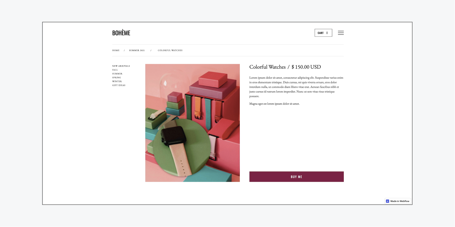 An image of pink, red and green boxes and watches is magnified on hover using custom code placed into a page's custom code settings in the Webflow Designer.