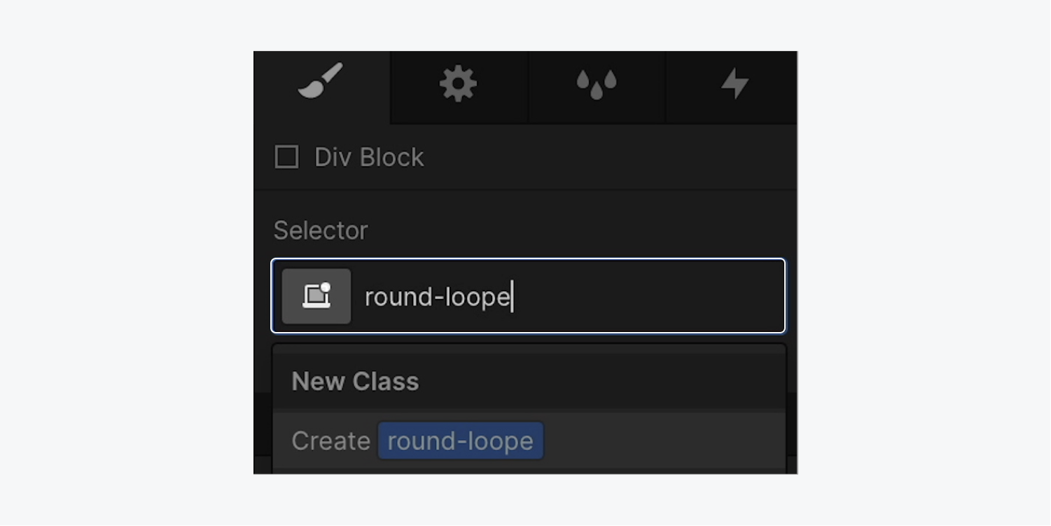 """The selector field of the styled Div block shows a new class of """"round-loope"""" added to it."""