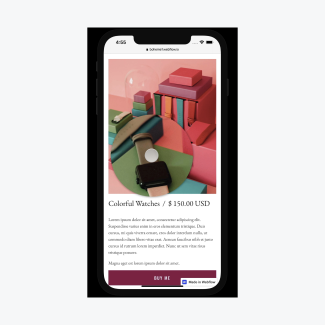 An image of pink, red and green boxes and watches is magnified on mobile devices when portions of the image are tapped. This is accomplished by using custom code placed into a page's custom code settings in the Webflow Designer.