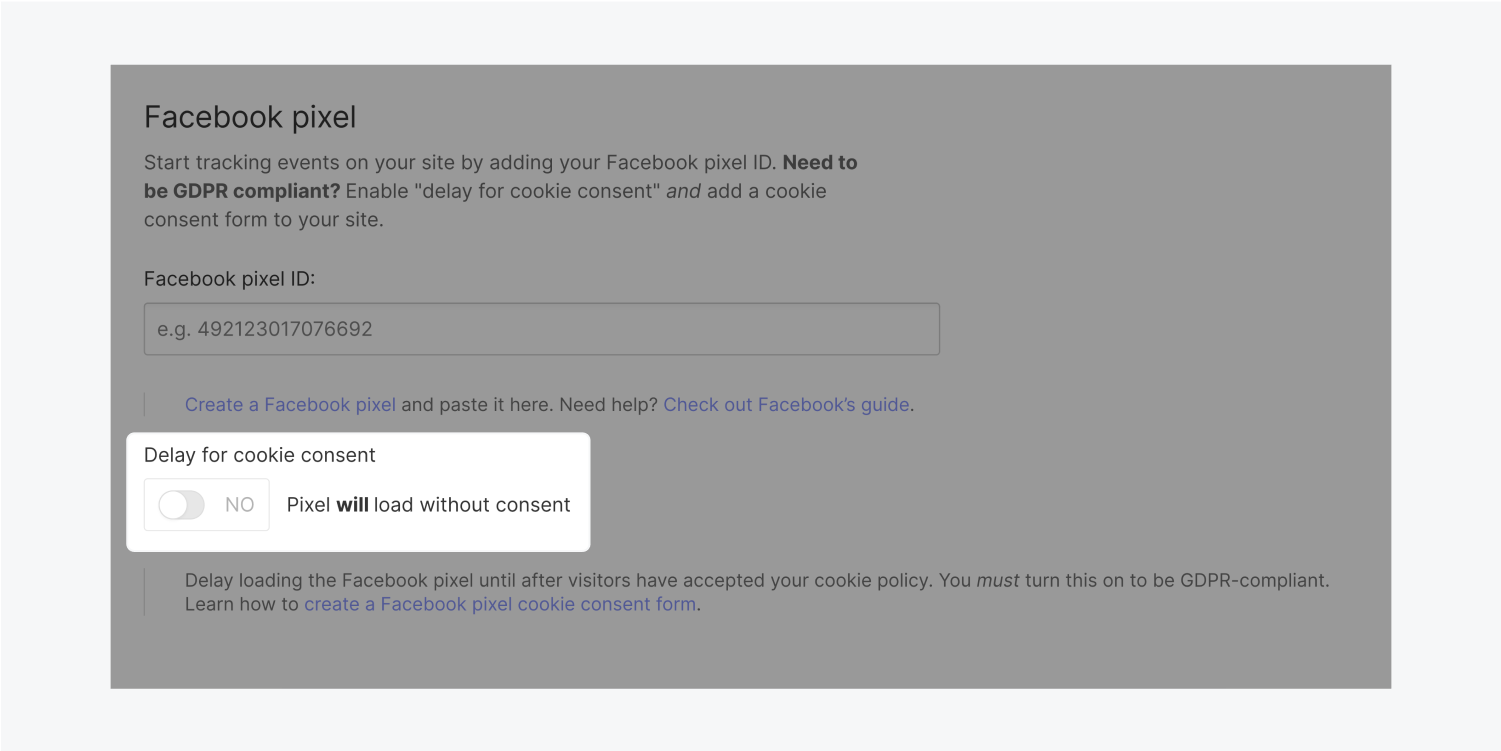 A radio button turned NO is highlighted in the Facebook pixel section. Text next to the radio button reads Pixel will load without consent.