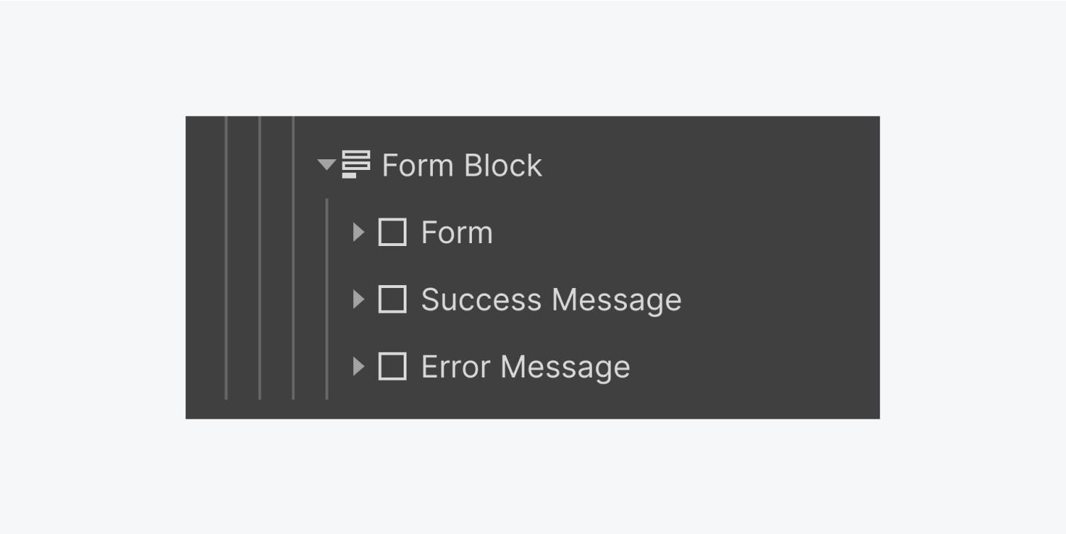 Three collapsed layers called Form, Success Message and Error Message, inside the Form block element.