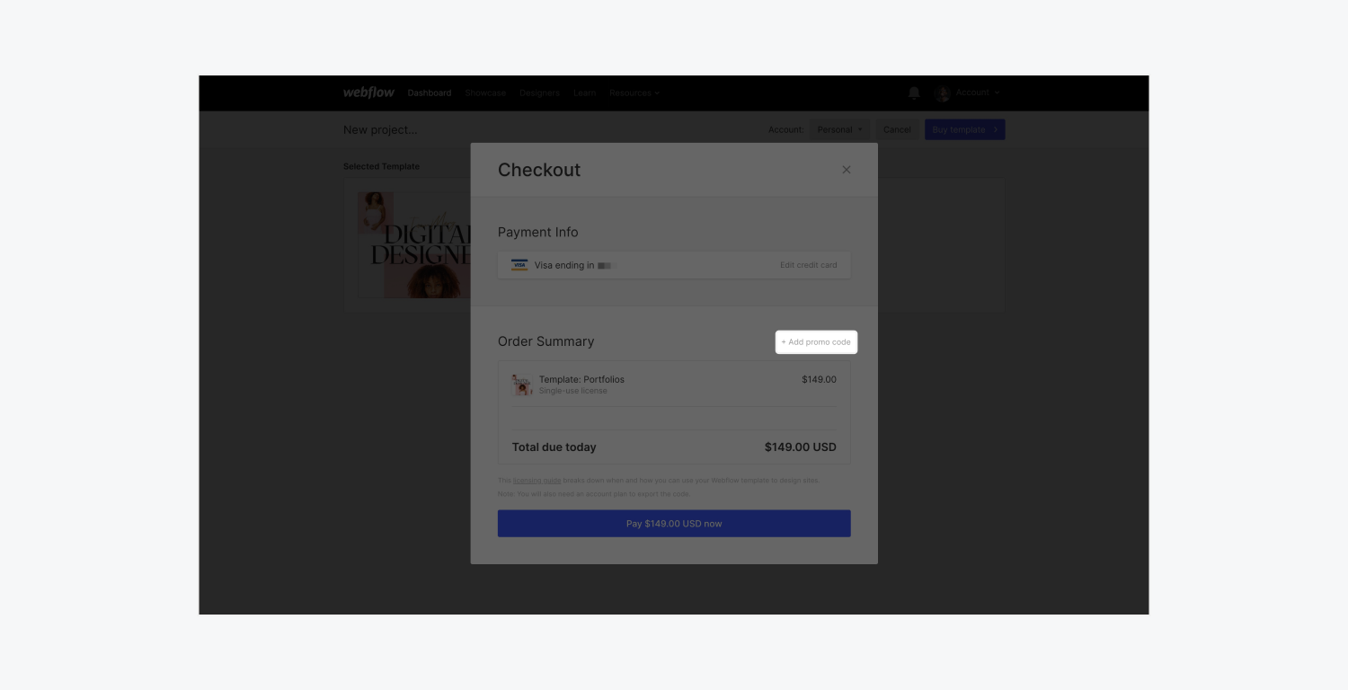 """Click the """"Add promo code link"""" in Webflow's template checkout modal to purchase a paid premium template with a promo code."""
