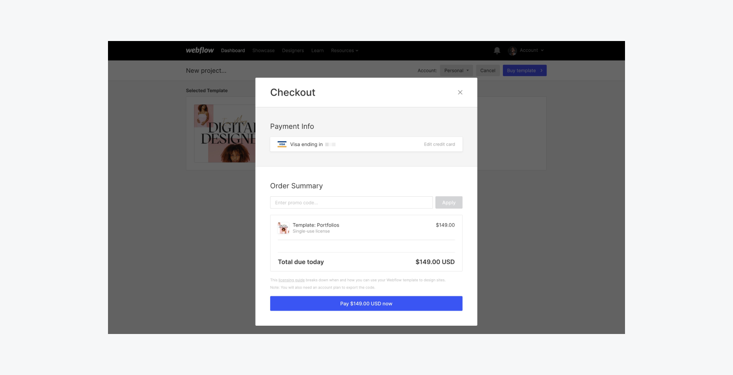 """Click the """"Add promo code link"""" in Webflow's template checkout modal to enter a promo code and purchase a paid premium template at a discount."""