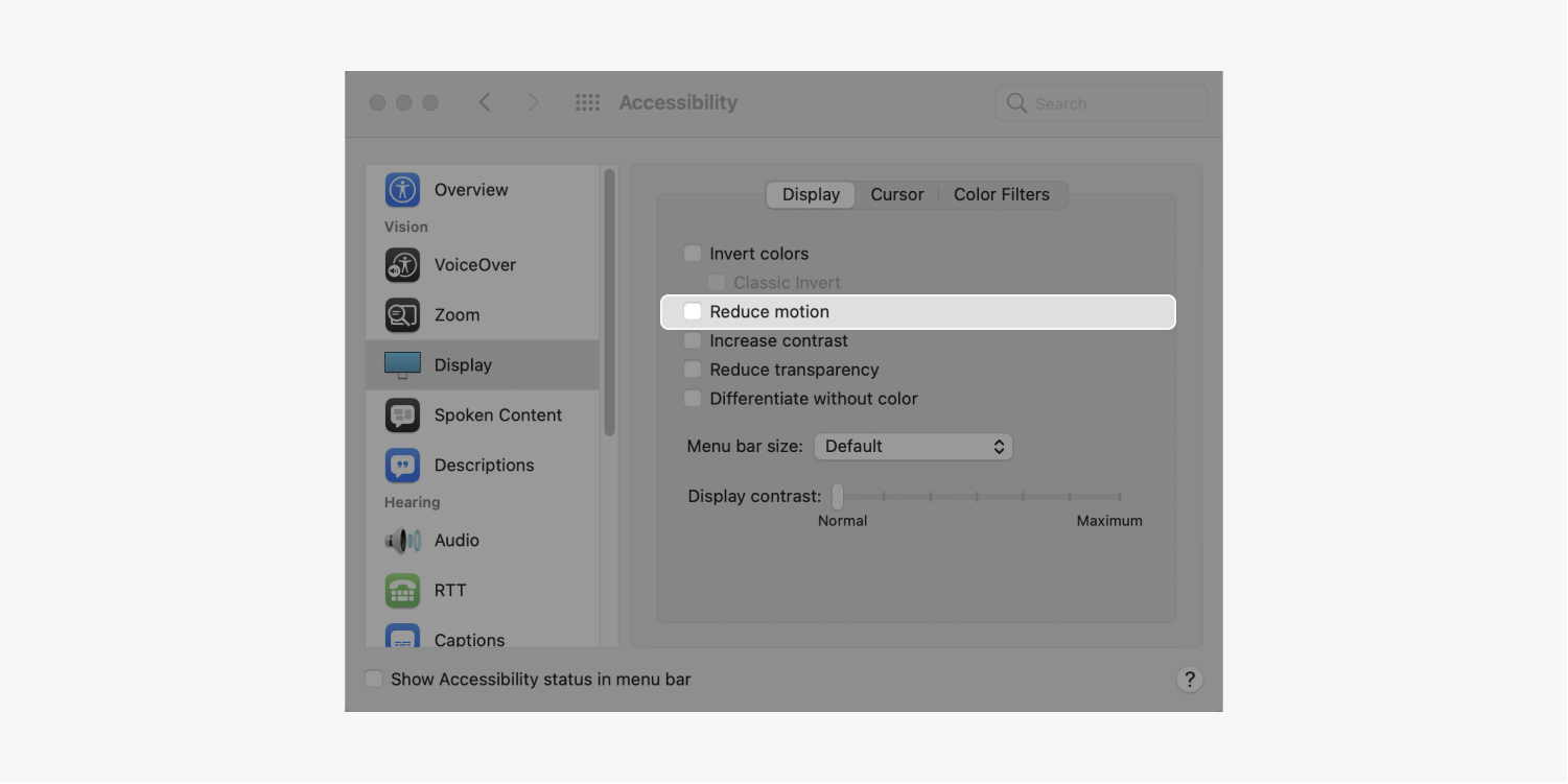 """To keep smooth scrolling on a Mac, go to System Preferences > Accessibility > Display and Uncheck """"Reduce motion""""."""