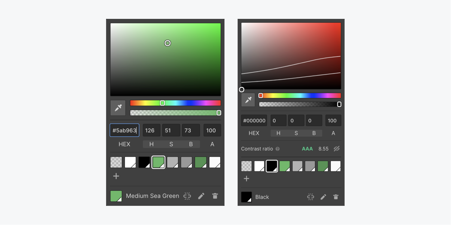 Left: the color picker as it appears when adjusting color for a non-typography element. Right: the color picker as it appears when adjusting color for typography elements, which includes the Contrast ratio checker. You can choose your colors with HEX codes, color plane and sliders, an eyedropper, and set swatches to use throughout your project.