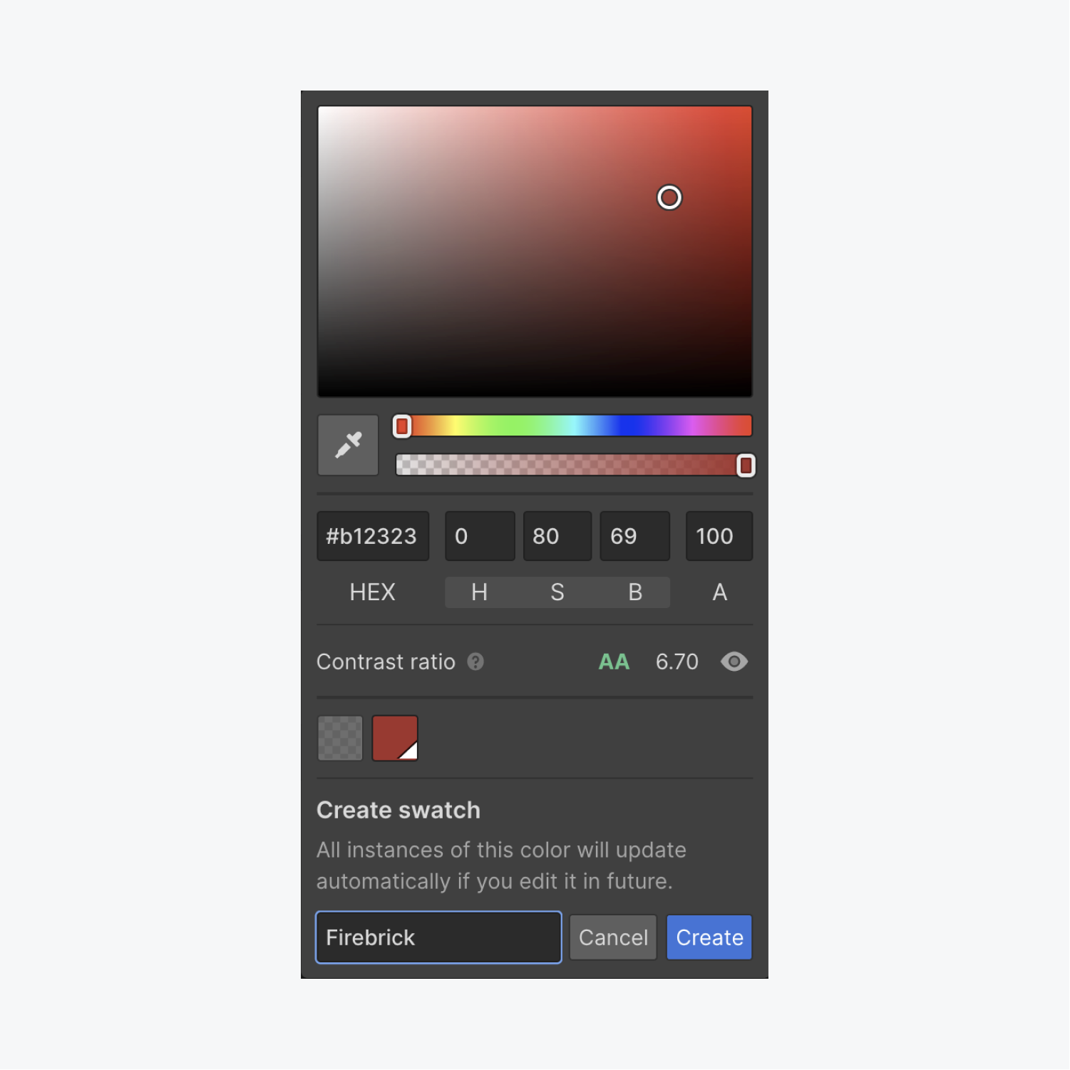 You can create swatches of colors you'd like to reuse throughout your project. Open the color picker, choose your color, click the plus icon, give your swatch a name, and press Create to save your swatch.