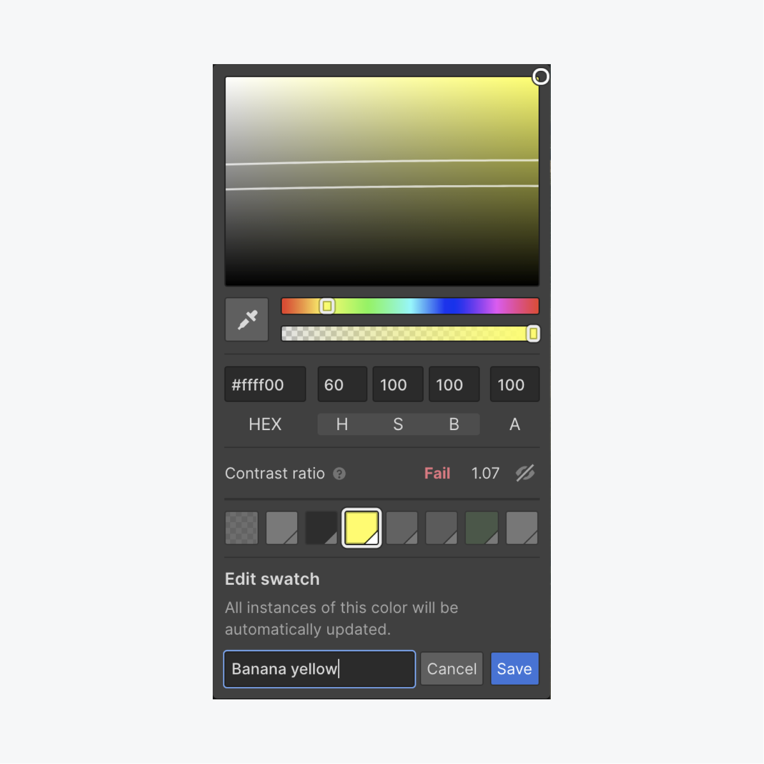 You can edit a swatch color to update that color throughout your project. Open the color picker, click the swatch you want to edit, click the pencil icon, choose your new color, rename the swatch, and press Save.
