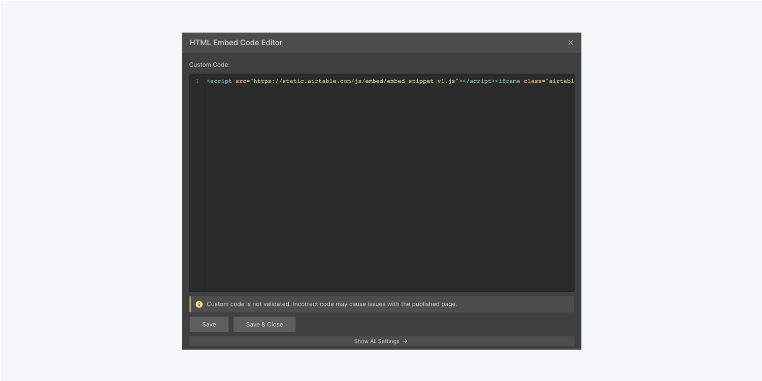 Webflows designer HTML embed code editor contains the code snippet from the Airtable spreadsheet.