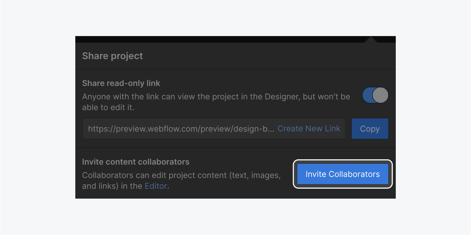 The invite collaborators button is highlighted on the Share project pop up dialog box.