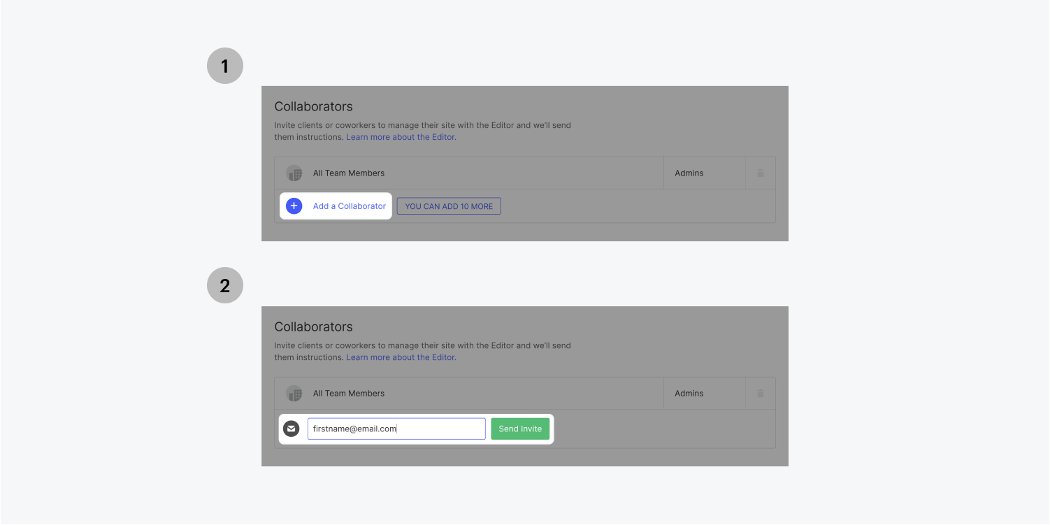 Two steps are displayed highlighting the process of adding a collaborator. The email field is filled out and the send invite button is green and ready to send.
