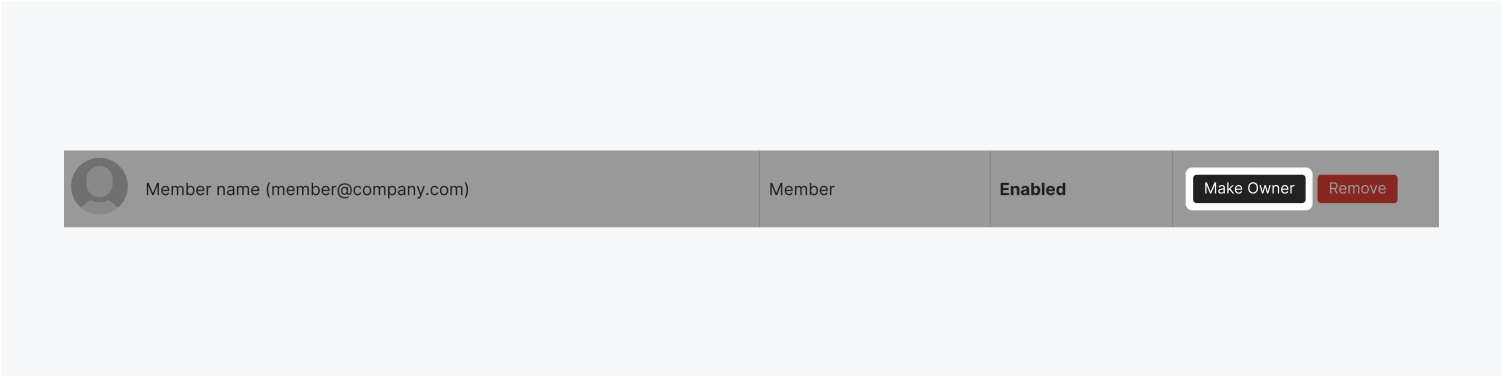 A black Make Owner button is highlighted on a team members name in the list. Their name and email are to the left of the button.