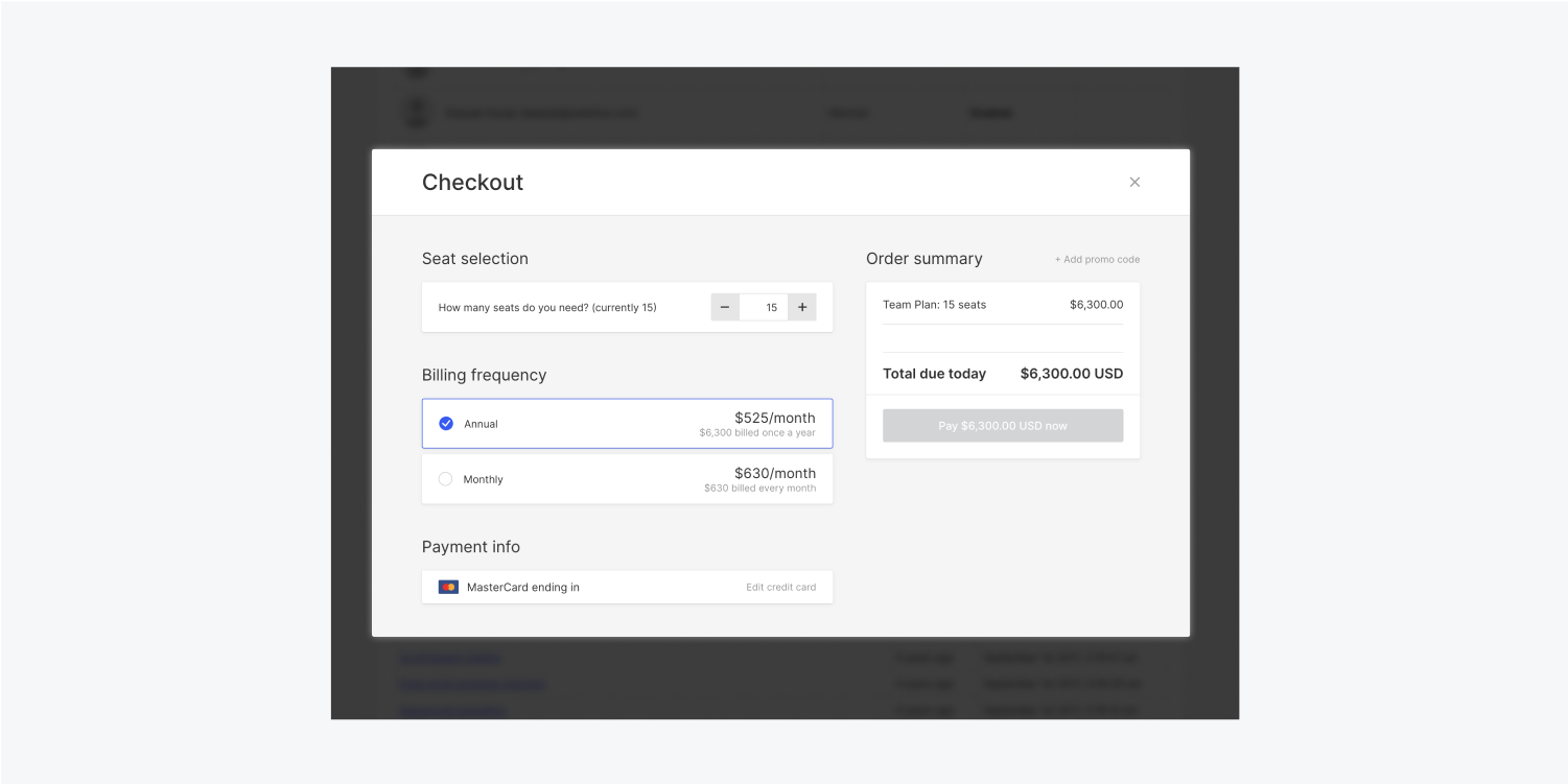Four sections compose the Checkout tab. 3 are on the left and 1 is on the right. The four sections are Seat selection, Billing frequency, Payment info and Order summary.