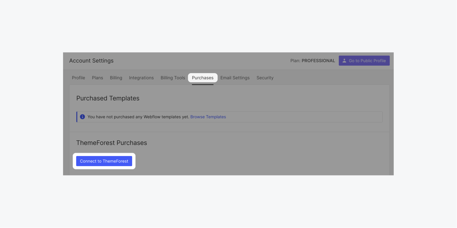 The Purchases tab is highlighted in the Account settings dashboard. A connect to ThemeForest blue button is also highlighted.