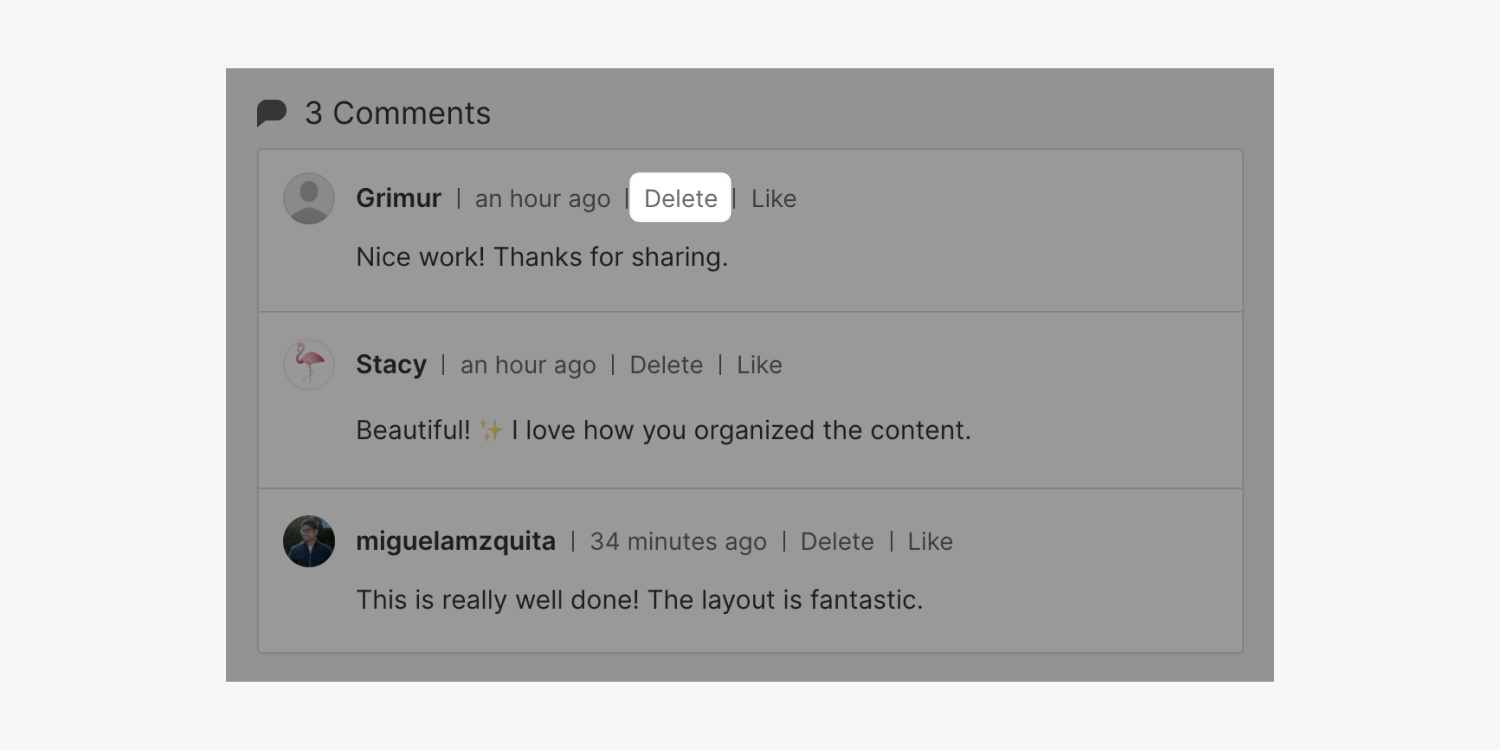 Three comments are displayed in a Webflow showcased site. The delete button is highlighted, showing what to press when a project owner or team member would like to delete a comment.
