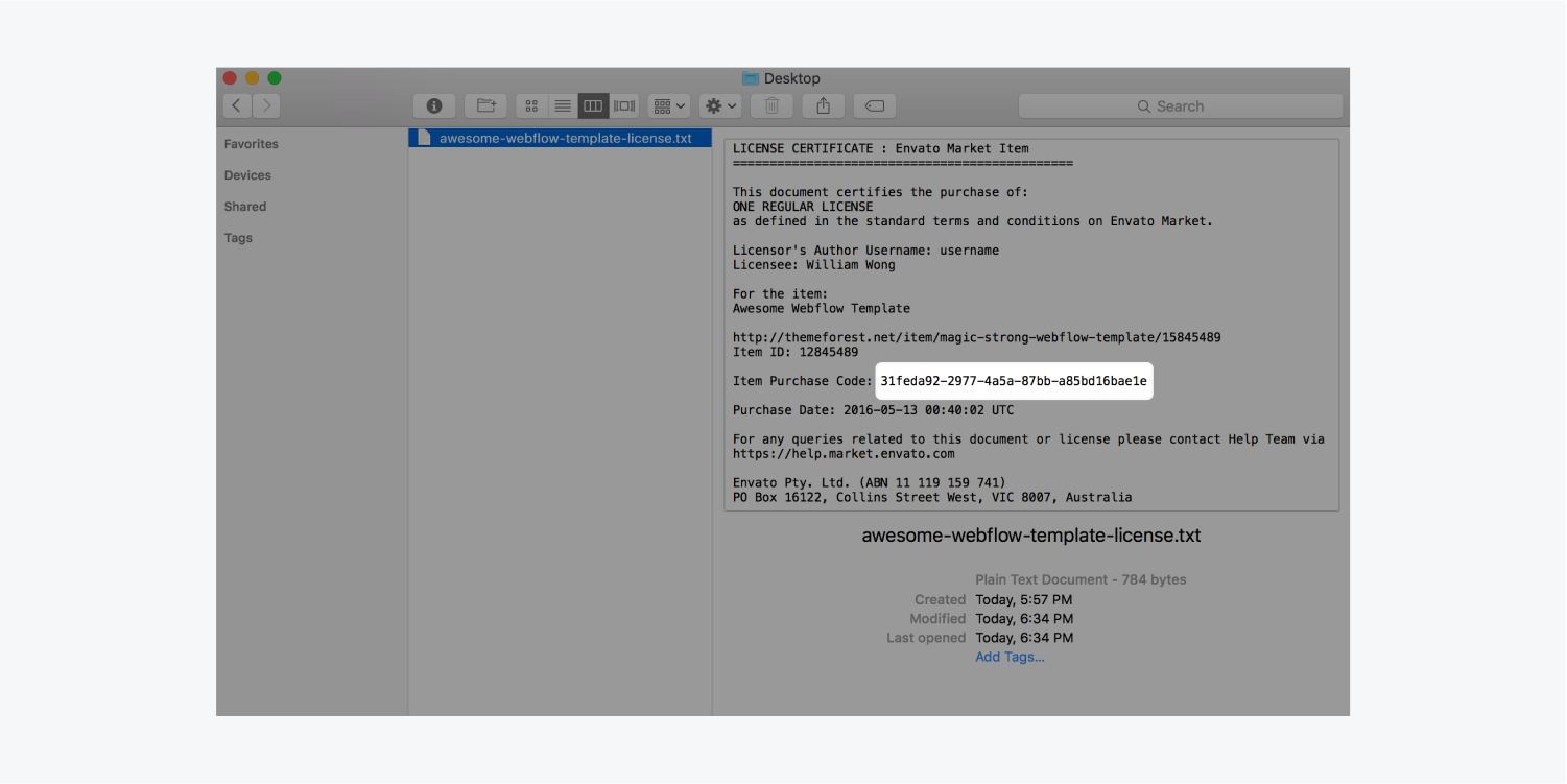 A file preview in a finder window displays the text contained. The item purchase code is highlighted.