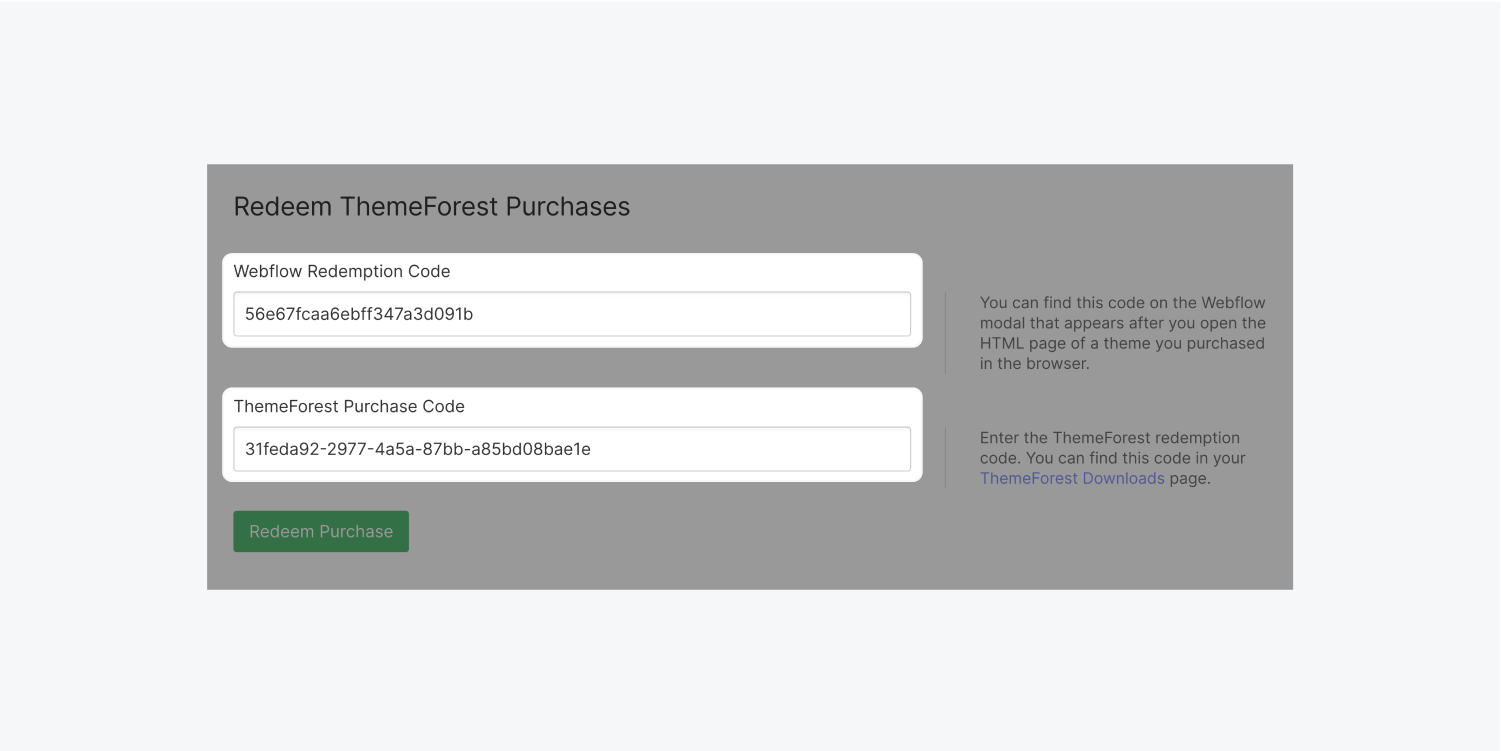 Two form text input fields are highlighted. These two fields are for the Webflow Redemption code and the Themeforest purchase code.
