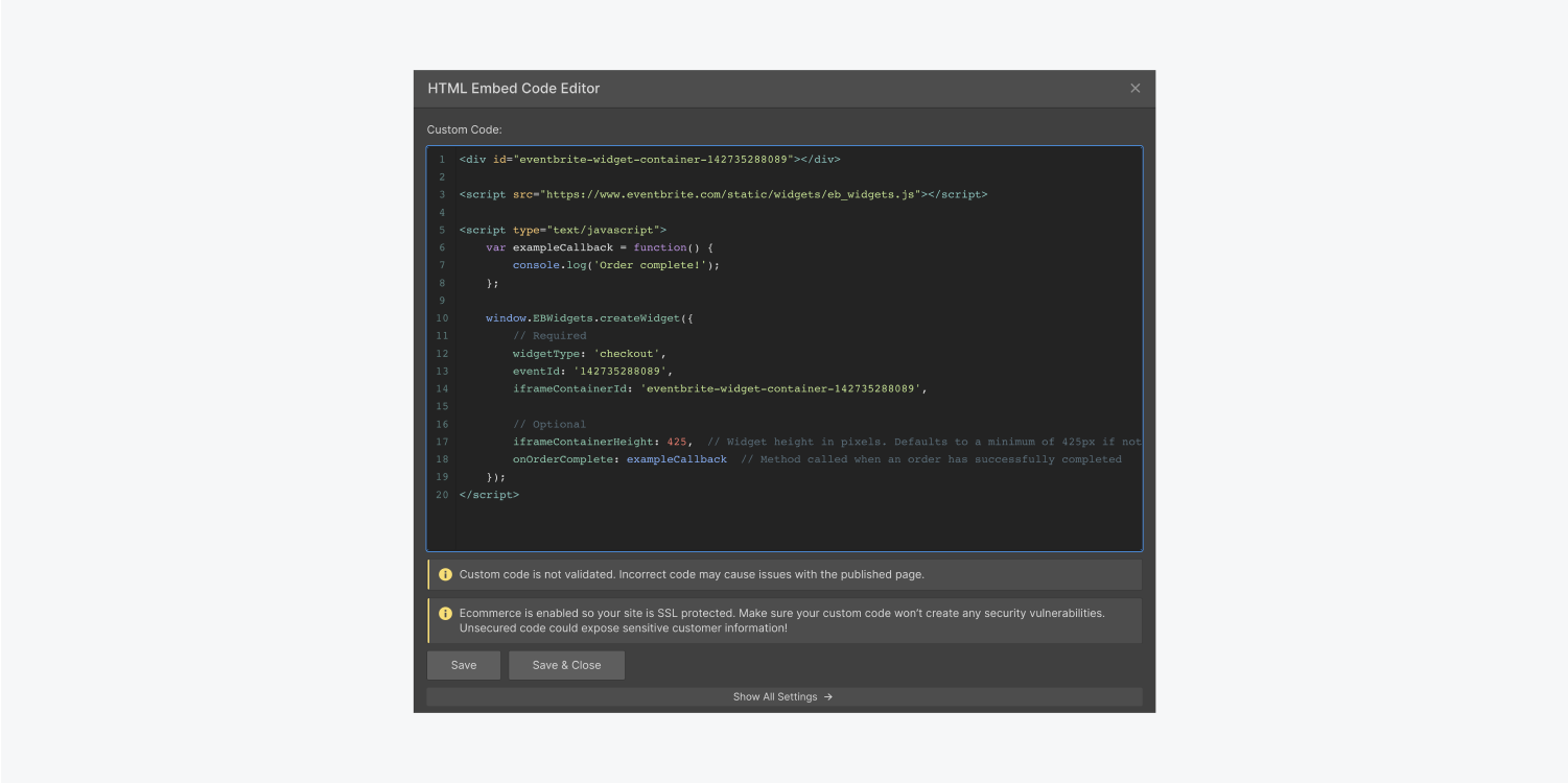 A Webflow HTML embed code editor filled with an Eventbrites event embed code.