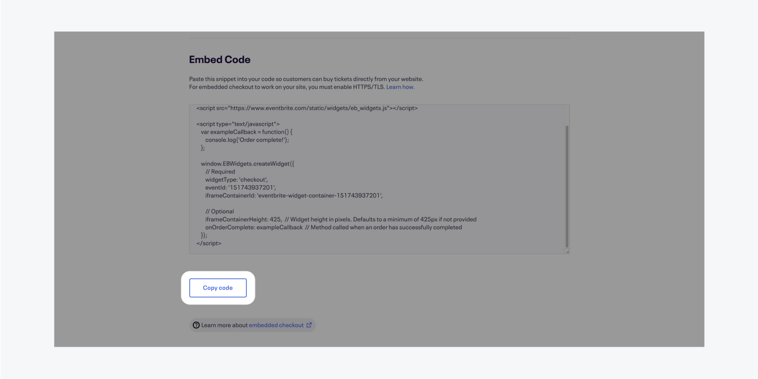 The embed code section of an events embedded checkout page. The copy code button is highlighted.