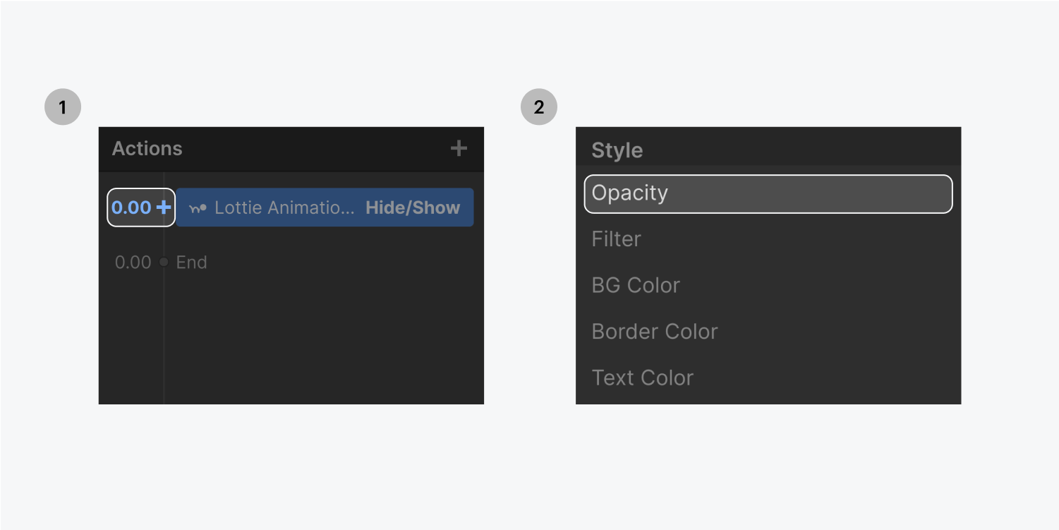 Step one on the left, select the 0.00 time code. Step two on the right, select the Opacity action from the dropdown menu.