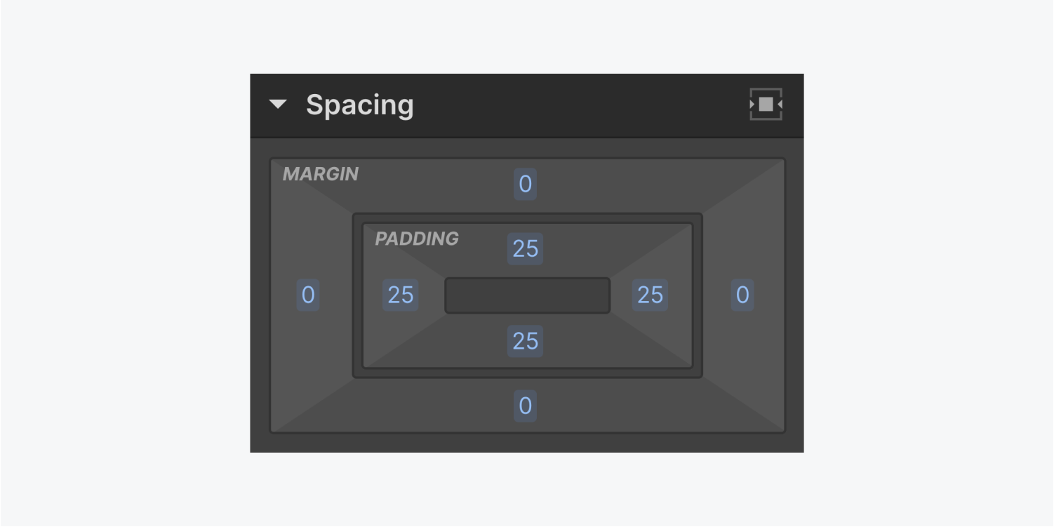 The Spacing section displays margin and padding settings, also a center element horizontally button.