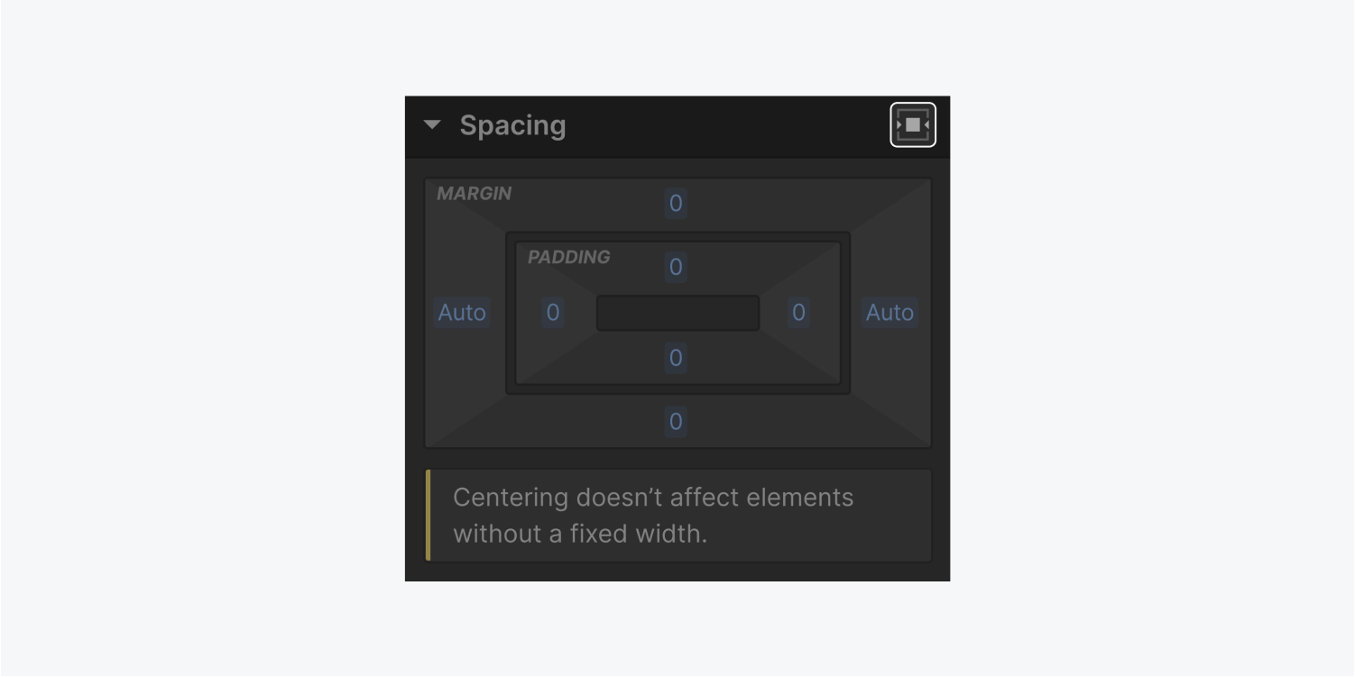 The spacing section of the styling panel is displaying the Center element horizontally button highlighted.