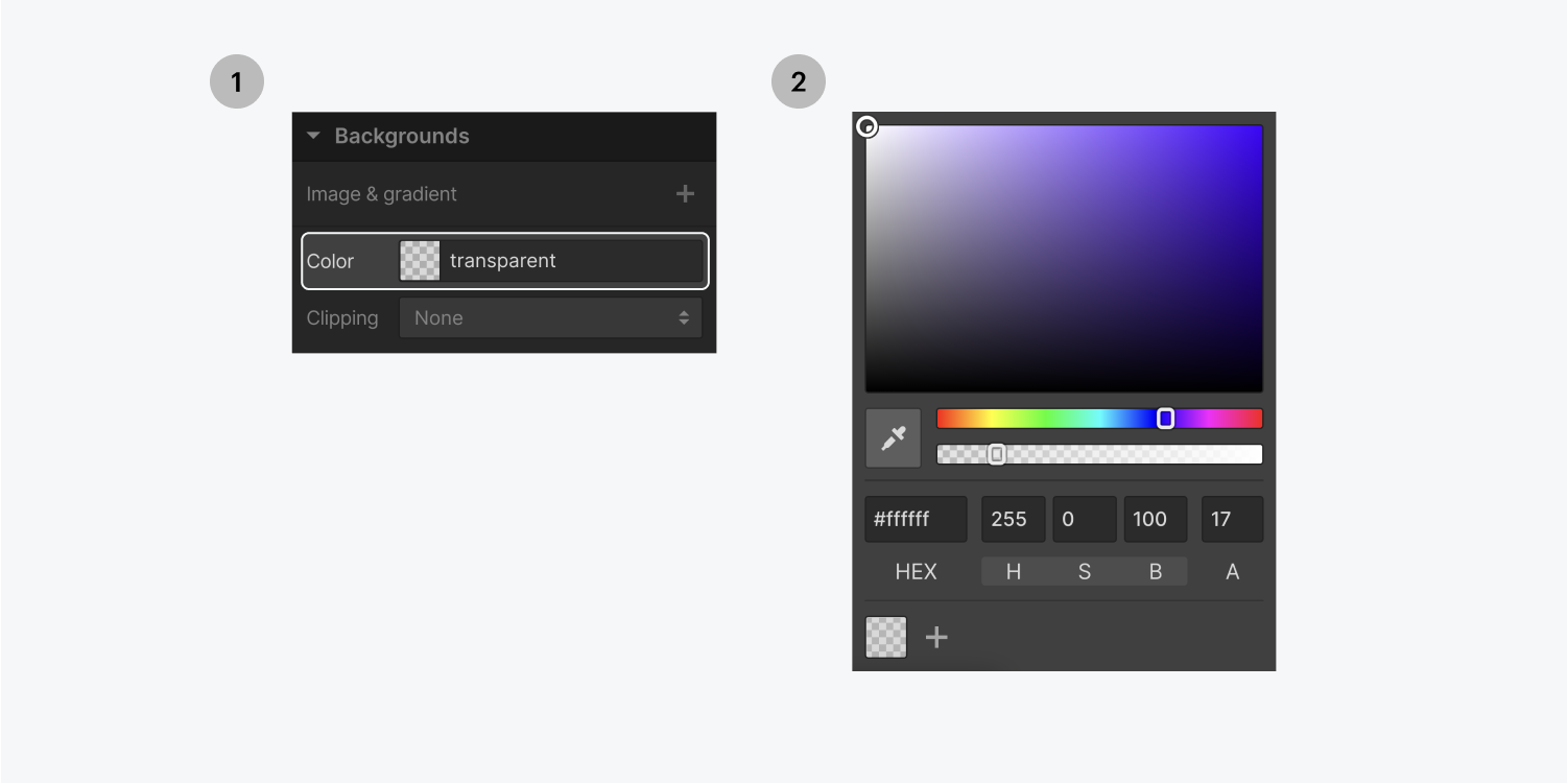 Step one on the left, click on the color button in the backgrounds section of the styling panel. Step two on the right, select the color you want to set as the background.