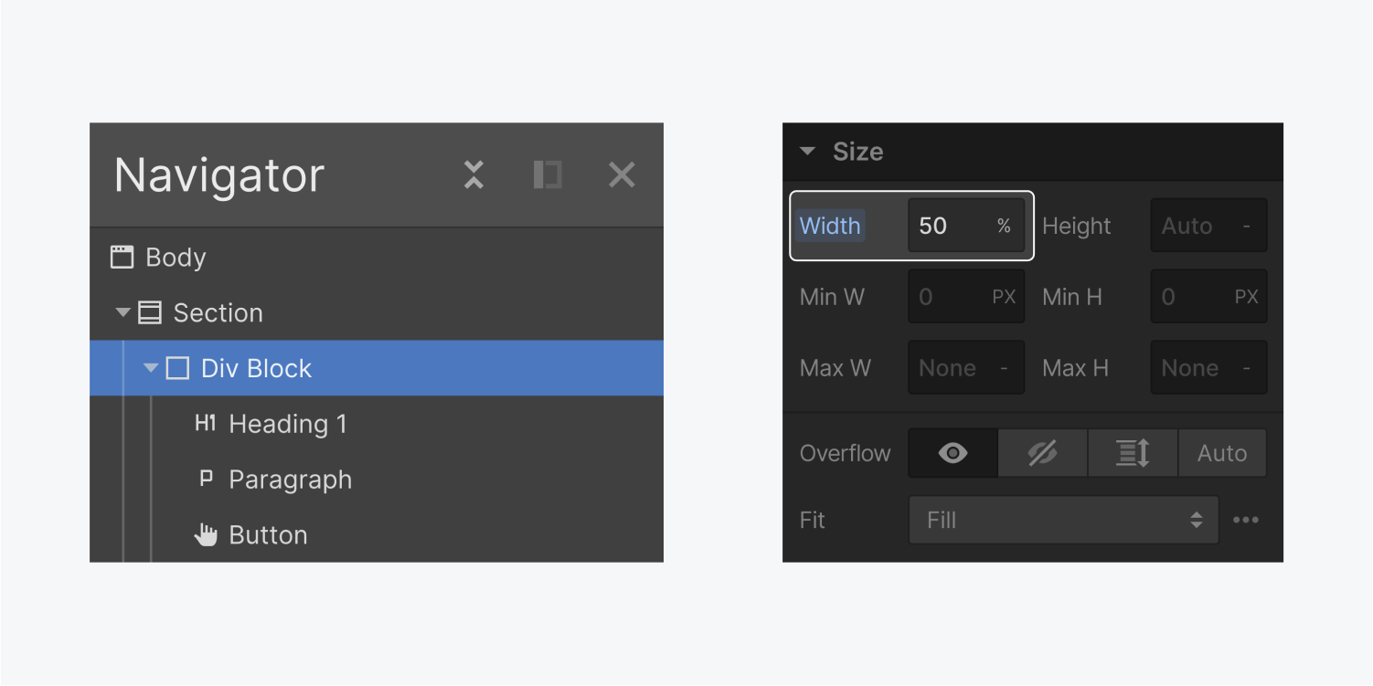 On the left, the navigator displays a div block containing a H1 Heading, Paragraph and button elements. On the right, the width of 50% is highlighted on the size section in the style panel.