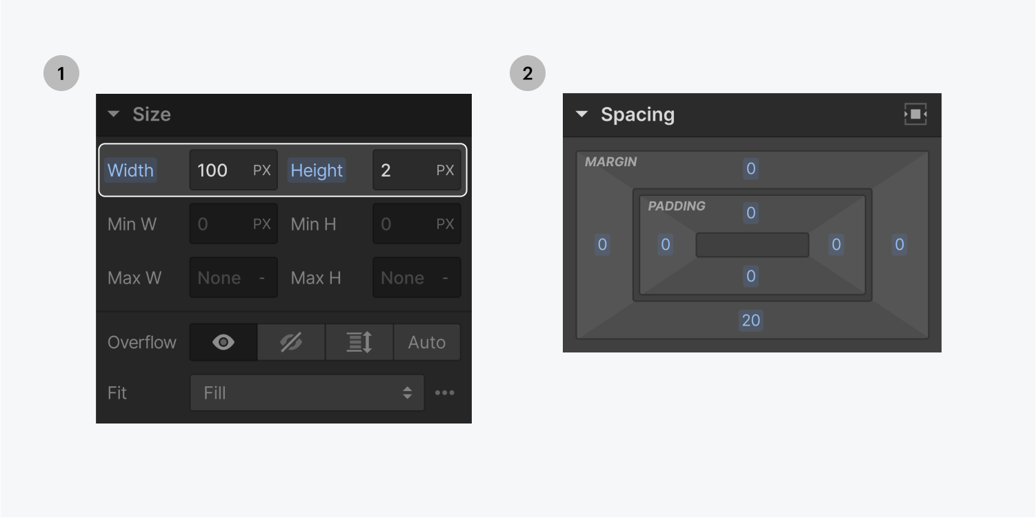 Step one on the left, set the width and height. Step two on the right, add margin to the div block.