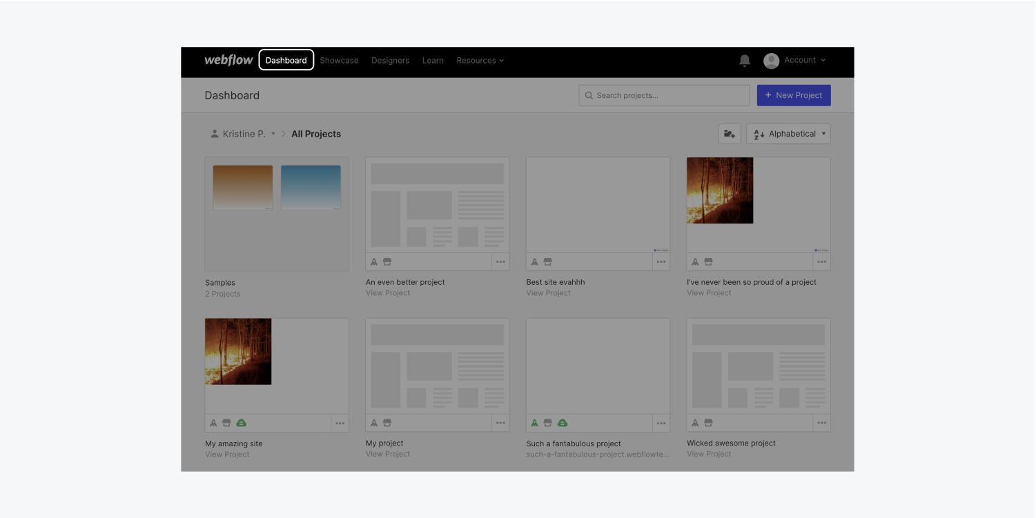Visit your Webflow Dashboard to choose the project whose site plan you want to manage.