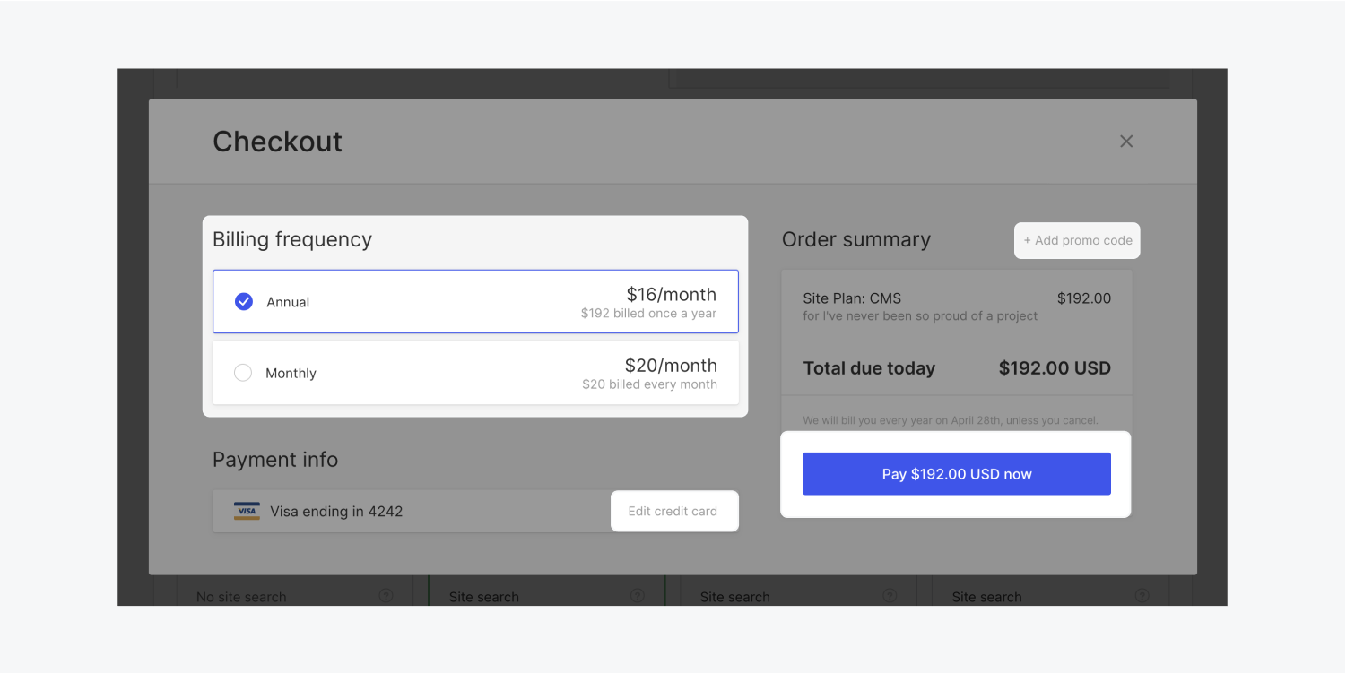 After adding a site plan to a project within its Hosting tab, a checkout modal appears to confirm details of the purchase. The promo code link, the billing frequency of the plan, the price you will pay at checkout, the edit default credit card link, and the final purchase button are highlighted as things to be aware of and double check at purchase.