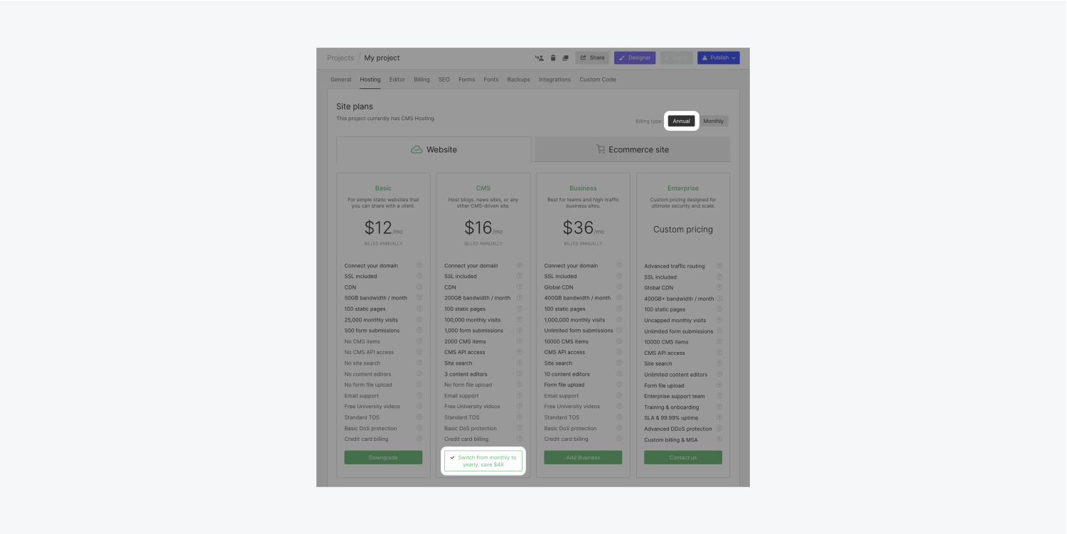 """A project's Hosting tab in its project settings highlights the annual billing cycle and """"Switch to yearly"""" buttons to click when choosing to switch from a monthly site plan to an annual site plan."""