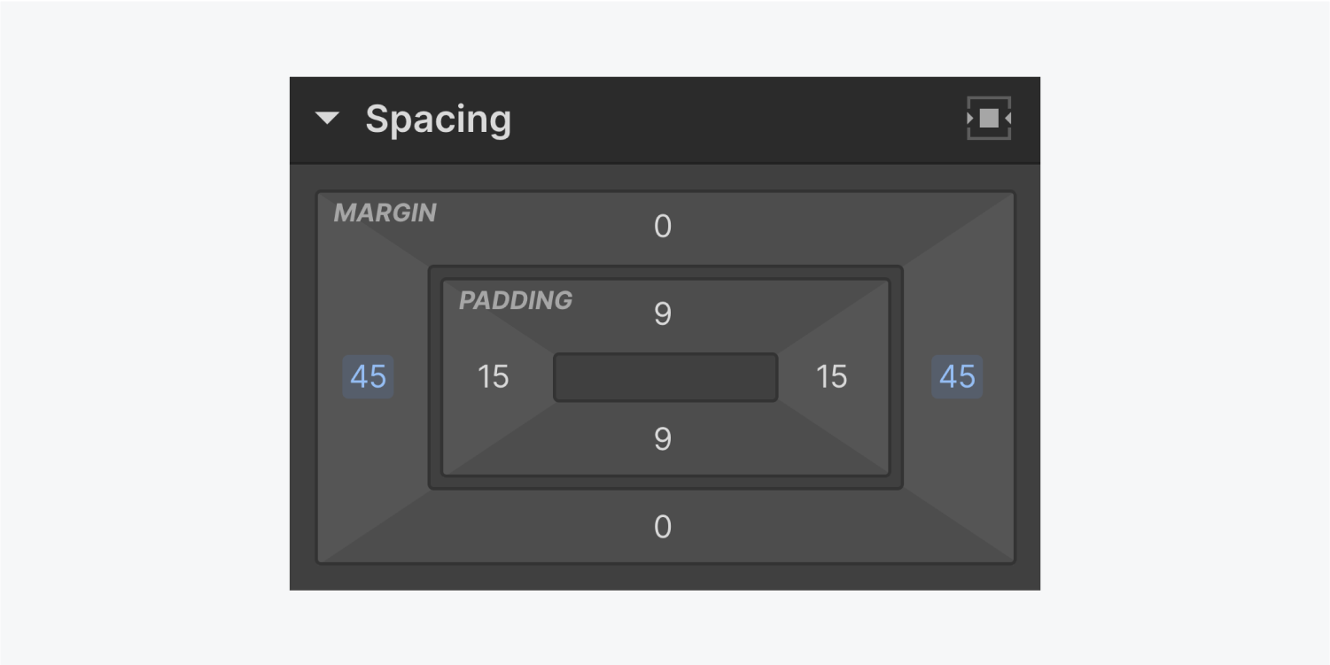 The spacing settings panel displays a margin of 45 pixels on both the left and right sides.