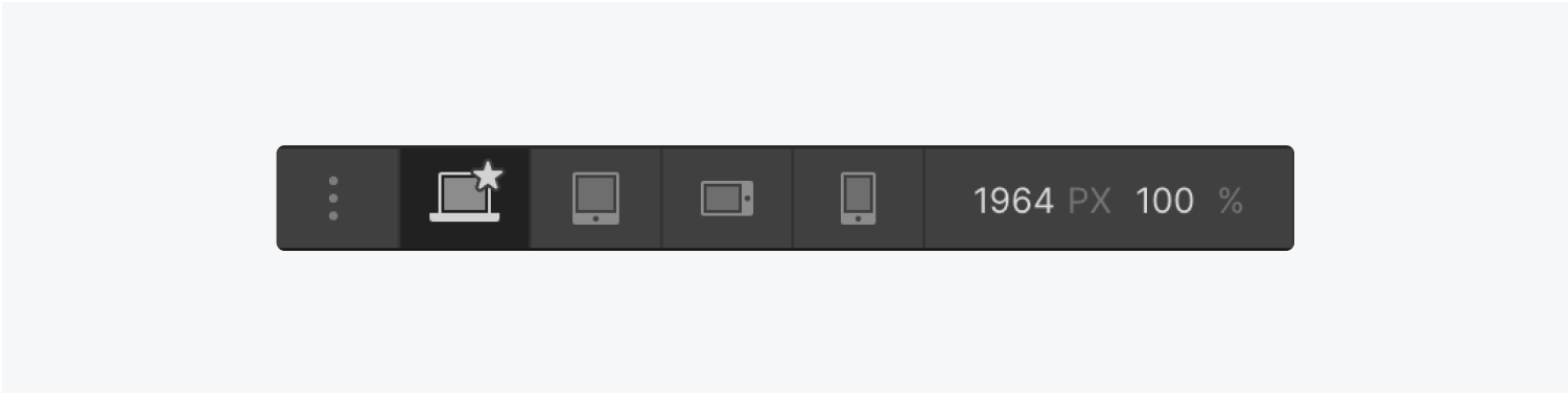 The designers breakpoint section displays a three dot button to add larger breakpoints, four breakpoint options, width dimensions and zoom percentage.