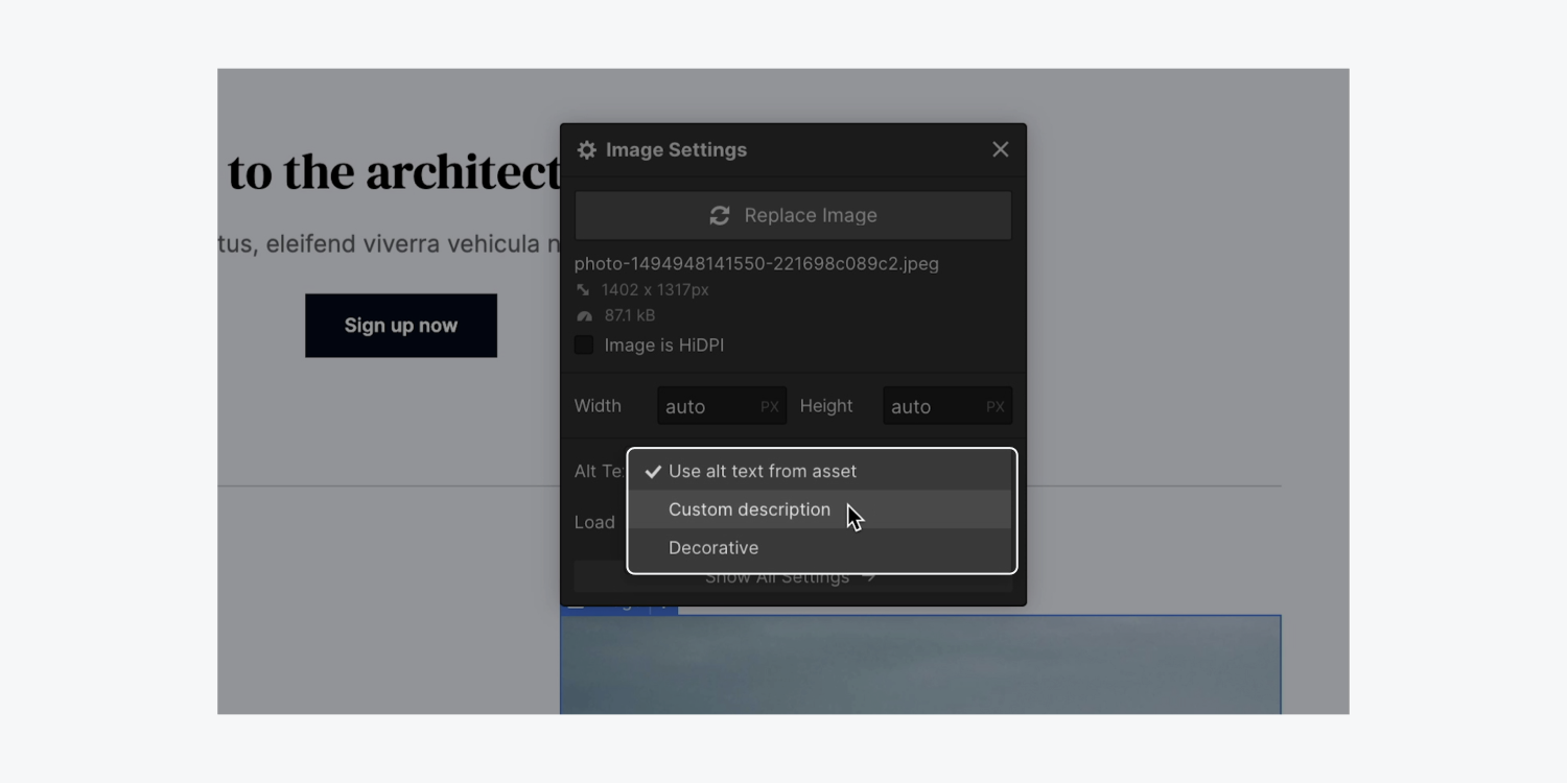 An Image's settings modal highlights the ability to choose to set a Custom description for an image's alt text.