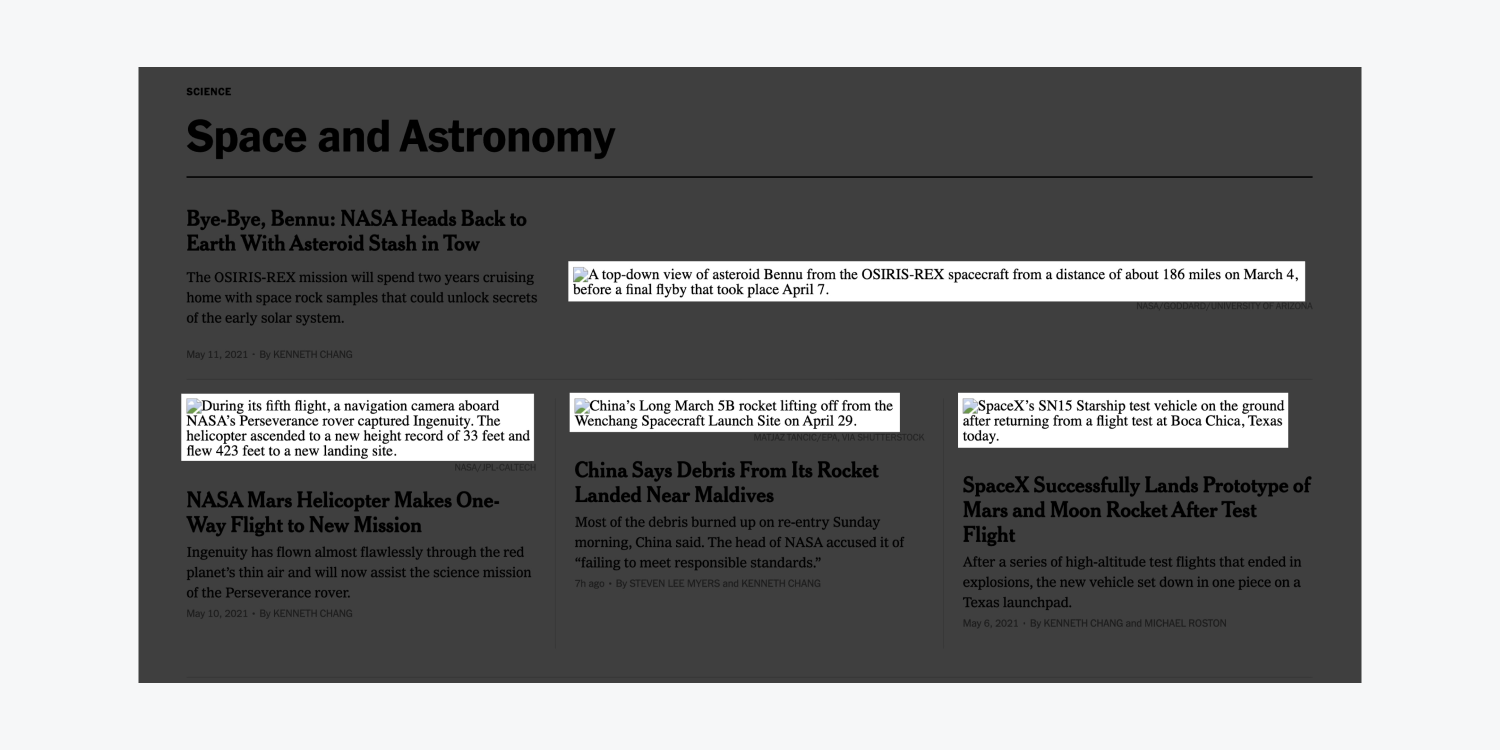 New York Times alt text is highlighted on images that show as broken upon webpage load.