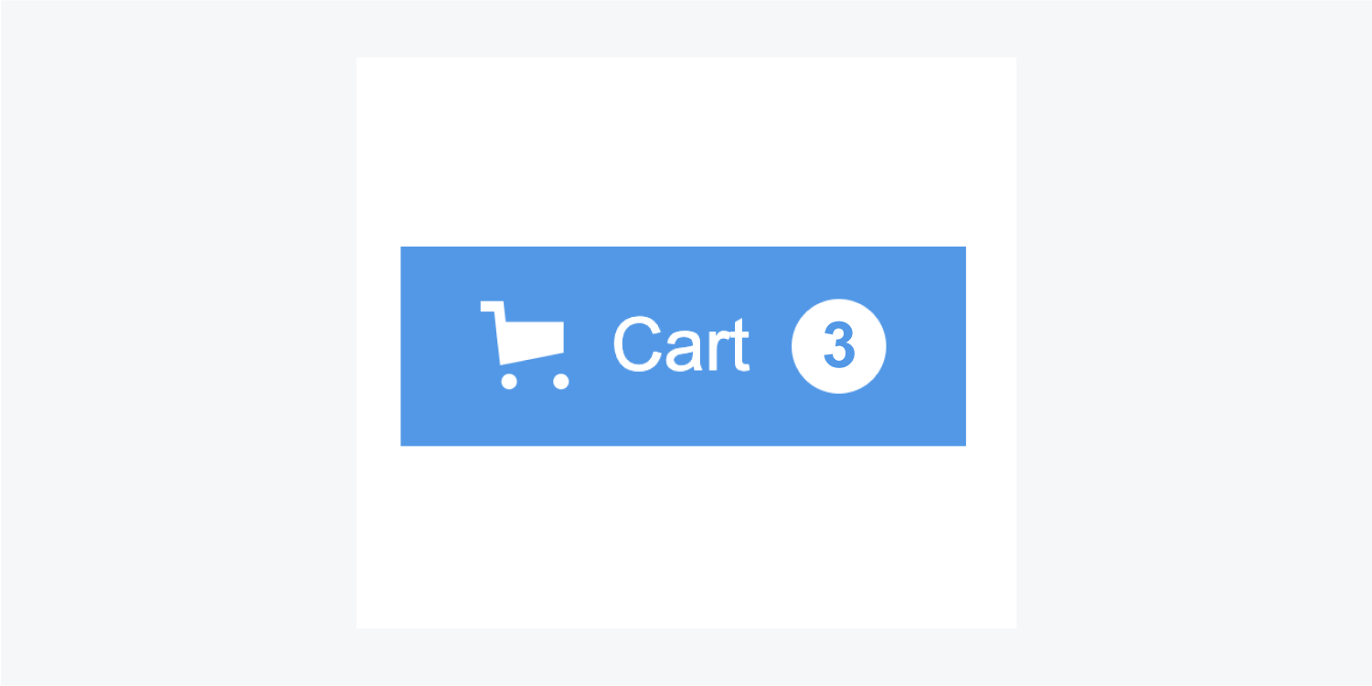 The Cart button includes a shopping cart icon, the word Cart and a blue number three in a white circle. There are three items in the cart.