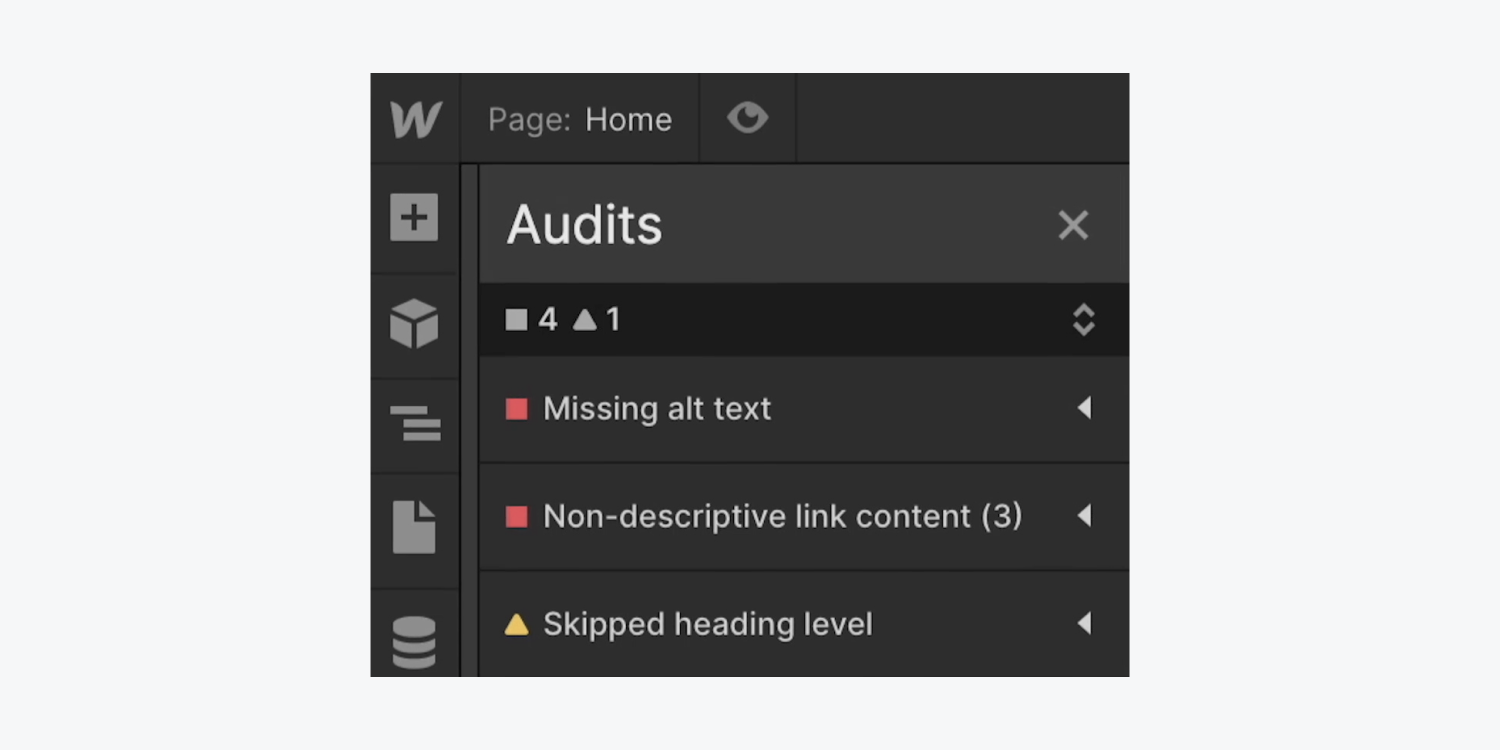 A close up of the Audit panel and some of its flagged issues, including missing alt text, non-descriptive link content, and skipped heading levels.