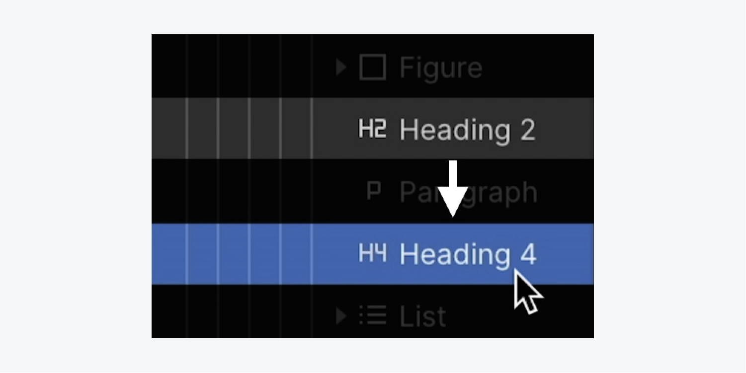 In the Navigator, an H2 Heading and an H4 Heading appear next to each other, indicating that the H3 level heading was skipped.