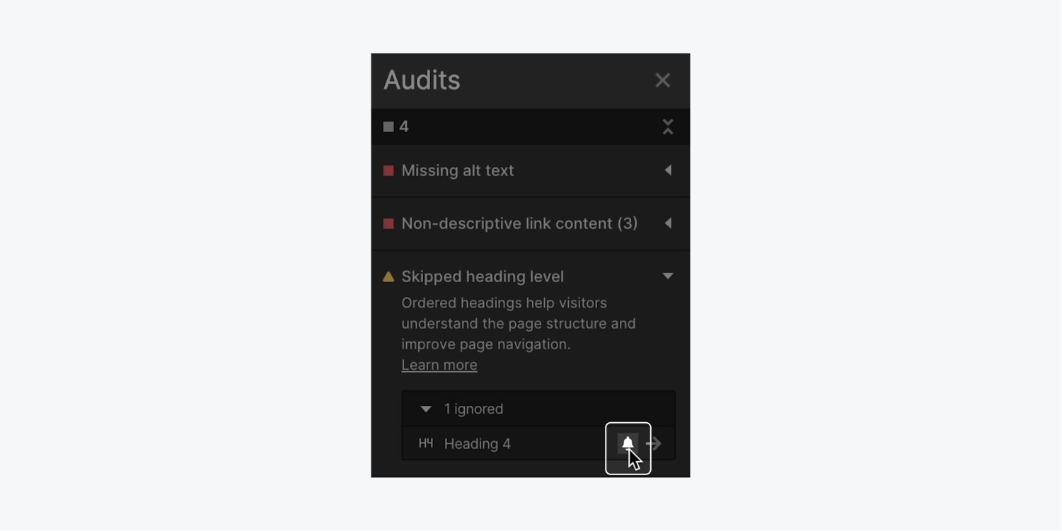 The bell icon is highlighted alongside an issue in the Audit panel to show how you can unignore a flagged issue.