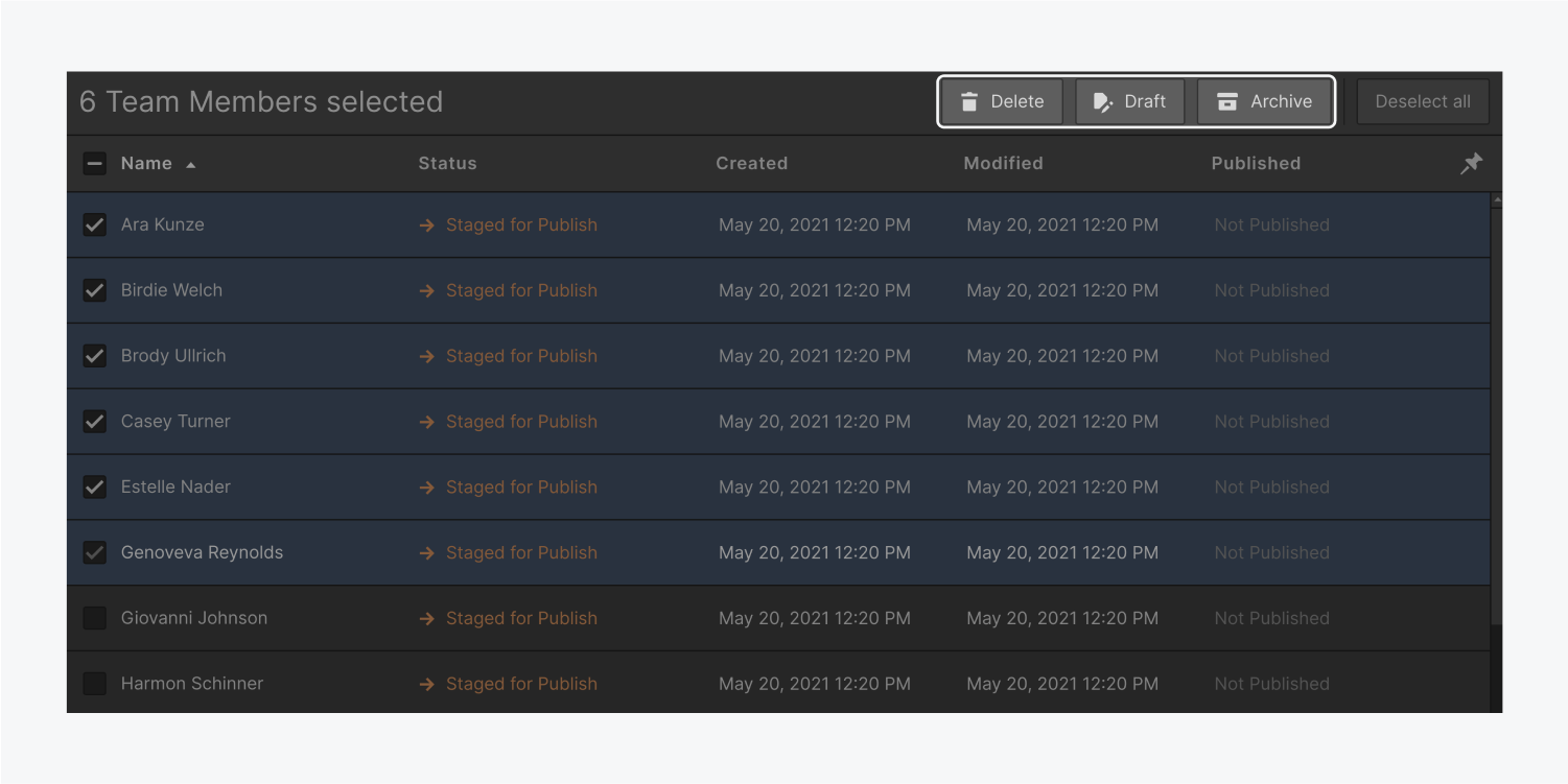 Six team members are selected in the collection list panel. The bulk actions are highlighted on the top actions bar. The bulk actions are a delete button, draft button and an archive button.
