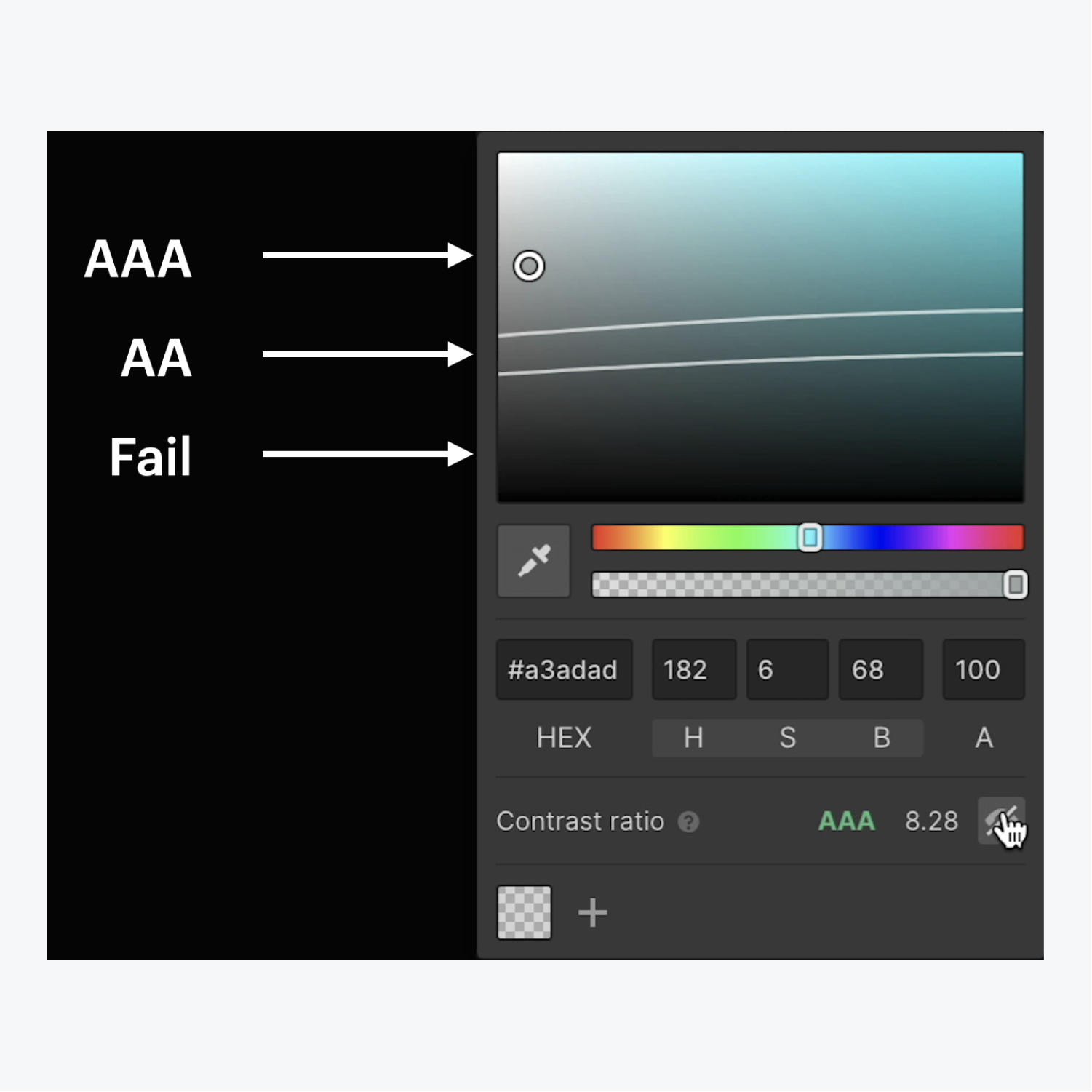 """The Color contrast checker displays ratio range patterns between AAA to Fail by clicking the """"eye"""" icon in the color picker."""