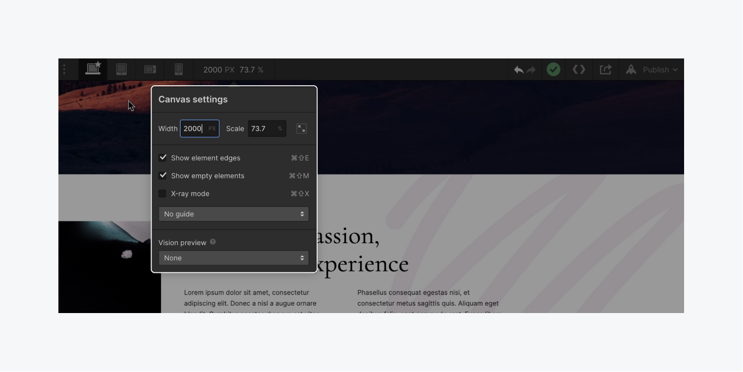 The Canvas settings modal is highlighted and width is set to 2000 pixels to demonstrate how to preview what designs will look like on larger displays.