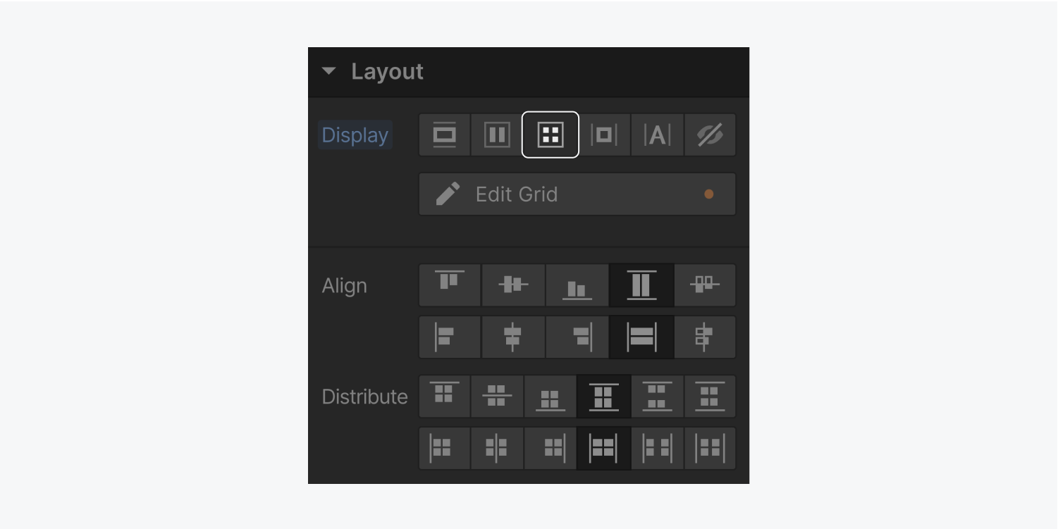 The Grid setting is selected and highlighted in the display settings section. The layout section of the style panel includes an align and distribute section when the Grid display settings is selected.