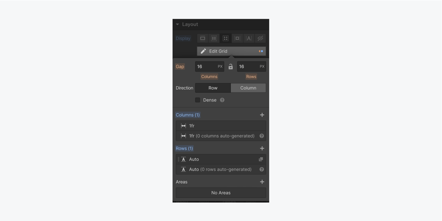 The edit grid settings panel includes input fields for the gap size of the columns and rows, direction options and sections to add columns and rows. There is also an Areas section with a plus icon to add a new one.